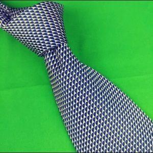 Nautica Mens Tie Silk Blue White Geometric 4X59